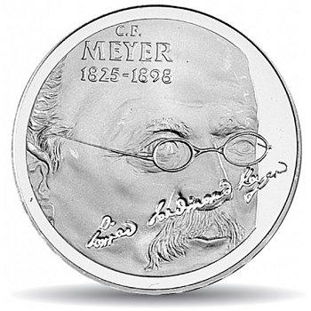 100. Todestag von Conrad Meyer, 20 Franken Münze 1998 Schweiz, Polierte Platte