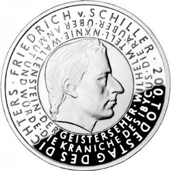 200. Todestag Friedrich von Schiller, 10-Euro-Silbermünze 2005, Stempelglanz
