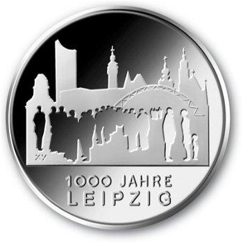 1000 Jahre Leipzig, 10-Euro-Gedenkmünze, Polierte Platte