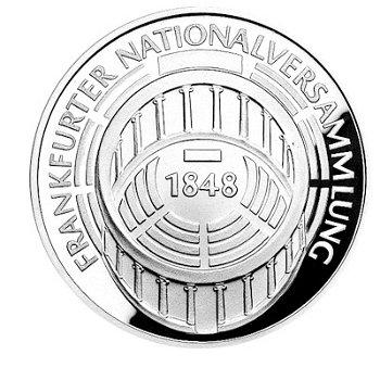 """5-DM-Silbermünze """"125. Jahrestag Nationalversammlung"""", Polierte Platte"""