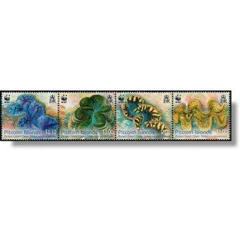 Weltweiter Naturschutz: Schuppige Riesenmuschel - 4 Briefmarken im Zusammendruck postfrisch, Katalog