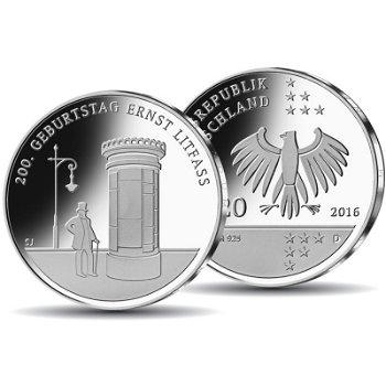 200. Geburtstag Ernst Litfass, 20 Euro Silbermünze Stempelglanz, Deutschland