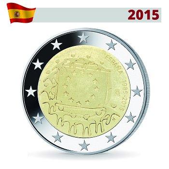 2 Euro Münze 2015, 30 Jahre Europaflagge, Spanien