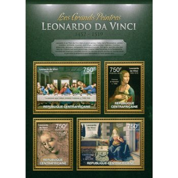 Leonardo da Vinci - Briefmarken-Block postfrisch, Zentralafrika