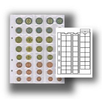 Multi collect-Münzblätter für 5 Euromünzsätze, mit schwarzen Zwischenblätter, 5er-Pack, Lindner MU40