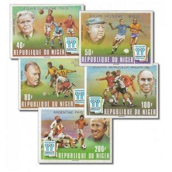 """Fußballweltmeisterschaft 1978 """"Aufdruck"""" - 5 Briefmarken ungezähnt postfrisch, Katalog-Nr."""