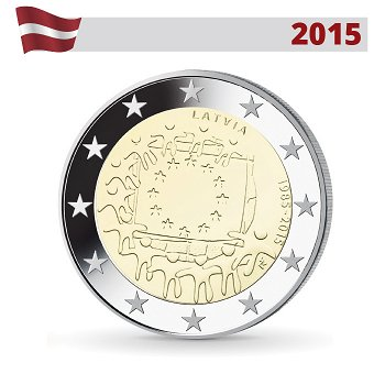 30 Jahre Europaflagge, 2 Euro Münze 2015, Lettland