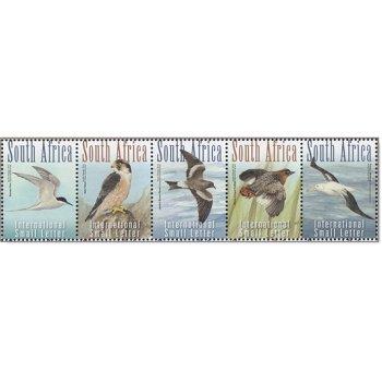 Gefährdete Vögel - 5 Briefmarken im Streifen postfrisch, Südafrika
