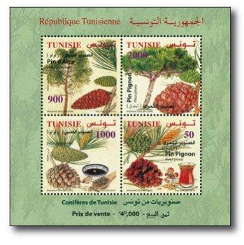 Nadelholzbäume, Nadelhölzer - Briefmarken-Block postfrisch, Tunesien
