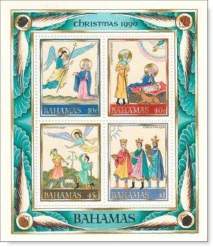 Weihnachten 1990 - Briefmarken-Block postfrisch, Katalog-Nr. 733-736, Bl. 63, Bahamas