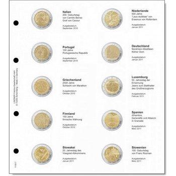 Lindner Vordruckblatt inkl. Münzblatt für 2 Euro-Gedenkmünzen chronologisch: Italien 2010 - Slowenie