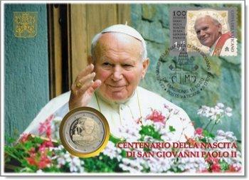 100. Geburtstag Papst Johannes Paul II. - Numisbrief, Vatikan