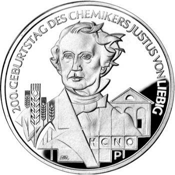 200. Geburtstag Justus von Liebig, 10-Euro-Silbermünze 2003, Polierte Platte