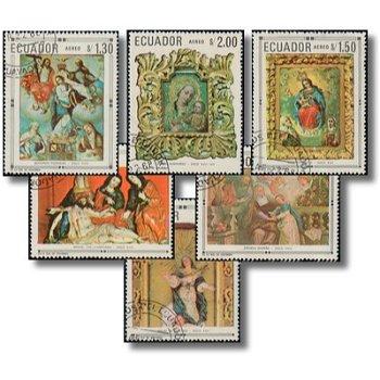 Christliche Gemälde und Skulpturen einheimischer Künstler - 6 Briefmarken gestempelt, Katalog-Nr. 14