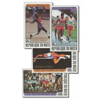 """Olympische Sommerspiele 1980 """"Aufdruck"""" - 4 Briefmarken ungezähnt postfrisch, Katalog-Nr."""