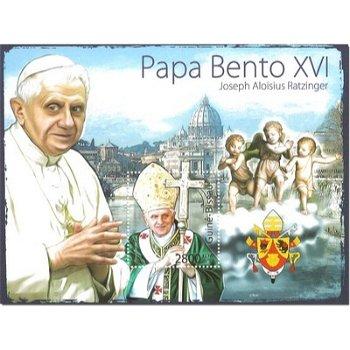 Papst Benedikt XVI. - Briefmarken-Block postfrisch, Guinea-Bissau