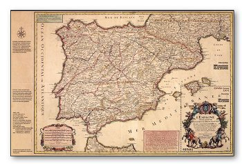 300 Jahre Erste Postkarte von Spanien - Block postfrisch, Form einer Landkarte, Spanien