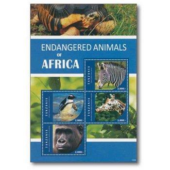Gefährdete Tiere, Zebra und Co...- Briefmarken-Block postfrisch, Tansania