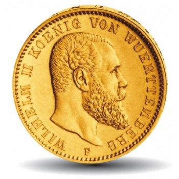 10 Mark Goldmünze, König Wilhelm II., Katalog-Nr. 295, Königreich Württemberg,