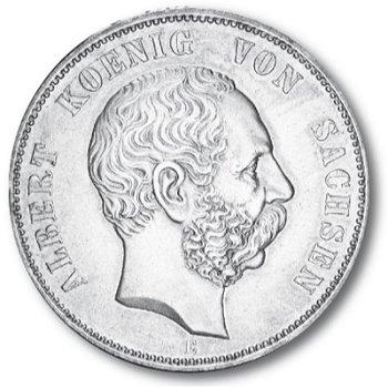 5 Mark Silbermünze, König Albert, Katalog-Nr. 122, Königreich Sachsen