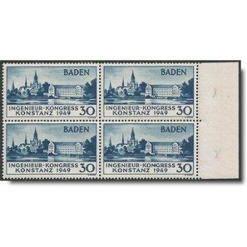 """Europäischer Ingenieur-Kongress"""" - Briefmarken-Viererblock vom rechten Bogenrand postfrisch, Ab"""