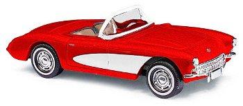 Modellauto:Chevrolet Corvette Cabriolet von 1956, rot(Busch, 1:87)