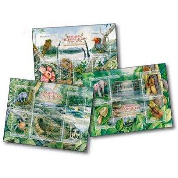 Die Schönheiten des Regenwaldes - 3 Briefmarken-Blocks, Malaysia