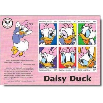 """70 Jahre Disney-Figuren """"Daisy Duck"""" - Briefmarken-Block postfrisch, Malediven"""
