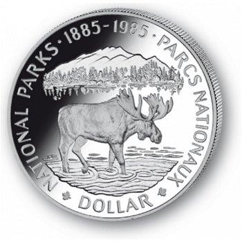 100 Jahre Nationalparks - Silberdollar 1985, 1 Dollar Silbermünze, Canada