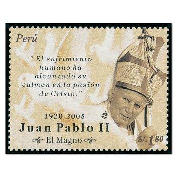 Papst Johannes Paul II. - Briefmarke postfrisch, Peru
