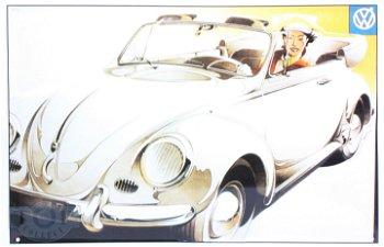 Blechschild:Das VW Cabrio erobert Frauenherzen(30 x 20 cm)