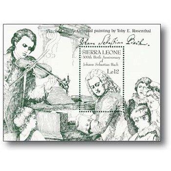 300. Geburtstag von Johann Sebastian Bach - Briefmarken-Block, Sierra Leone