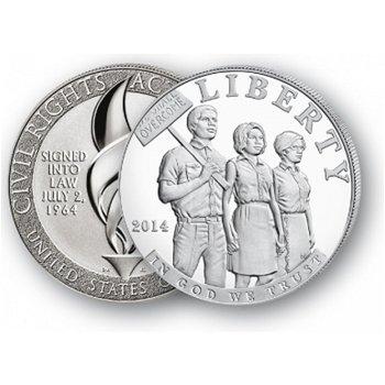 50 Jahre Bürgerrechtsgesetze - Silberdollar 2014, 1 Dollar Silbermünze, USA