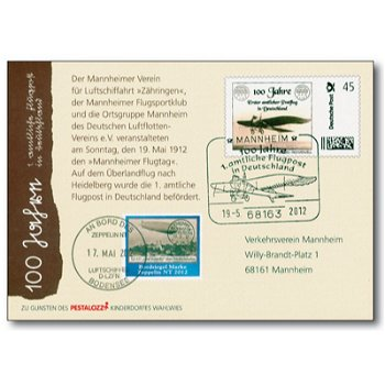 100 Jahre Flugpost in Deutschland - 1. amtliche Flugpost in Deutschland, Erinnerungskarte