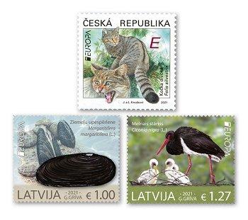 Europa 2021: Gefährdete nationale Tierwelt - 3 Briefmarken postfrisch, Tschechische Republik und Let