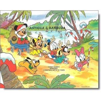"""Weihnachten """"Walt-Disney-Figuren"""" - Briefmarken-Block postfrisch, Antigua Barbuda"""