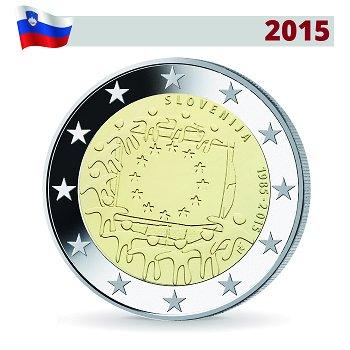 30 Jahre Europaflagge, 2 Euro Münze 2015, Slowenien