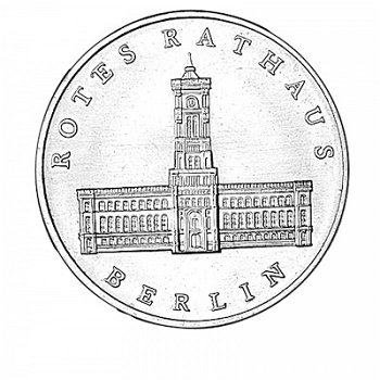"5-Mark-Münze 1987,""Rotes Rathaus Berlin, DDR"