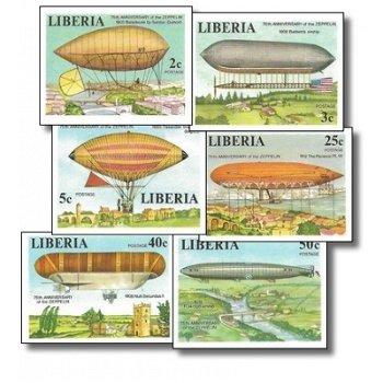 75 Jahre Zeppelin-Luftschiffe – Briefmarken postfrisch, ungezähnt, Katalog-Nr. 1054 B-1059 B, Liberi