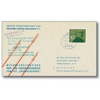 """Raketenpost mit der Postrakete """"Großglocker"""" - Original-Beleg, Deutschland"""