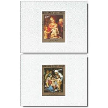 """Weihnachten 1984 """"Gemälde"""" - 3 Luxusblocks postfrisch, Katalog-Nr. 842B-844B, Elfenbeinküs"""