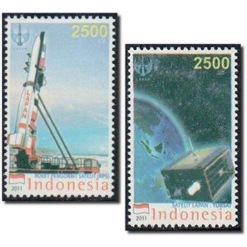 Raumfahrt - 2 Briefmarken postfrisch, Indonesien