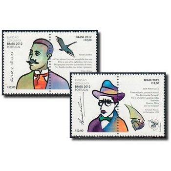 Brasilianisch-portugiesische Briefmarkenausstellung LUBAPEX 2012, Sao Paulo: Literaten - 2 Briefmark