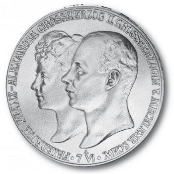 5 Mark Silbermünze, Hochzeit, Katalog-Nr. 87, Großherzogtum Mecklenburg-Schwerin
