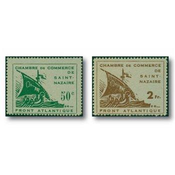 Freimarken von St. Nazaire - zwei Briefmarken, Katalog-Nr. 1-2 ungestempelt, Deutsche Besetzung Fran