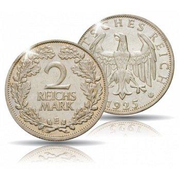 2 Reichsmark, Eichenlaub, Jaeger- Nr. 320, Weimarer Republik