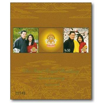 1. Hochzeitstag des Königspaares - Briefmarken-Block postfrisch, Bhutan