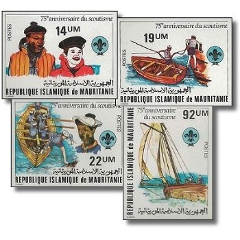 75 Jahre Pfadfinderbewegung - 4 Briefmarken ungezähnt postfrisch, Katalog-Nr. 744-747, Mauretanien