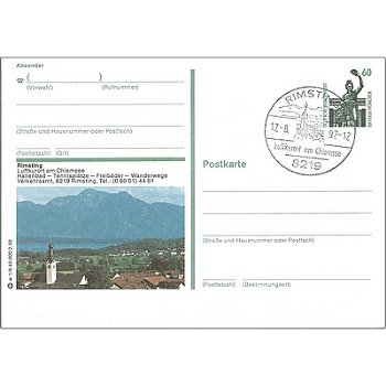 "8219 Rimsting - Bildpostkarte ""Hallenbad, Tennisplätze, Freibäder, Wanderwege, Verkehrsamt&quot"