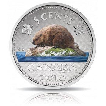 Big Coin / Biber, Silbermünze mit Farbauflage, Canada